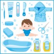 Set of children's things for bathing - Stock Vector