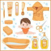 Insieme di cose di bambini per la balneazione — Vettoriale Stock