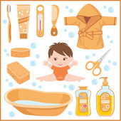Satz von kindern dinge zum baden — Stockvektor