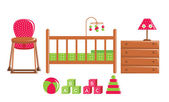 Children's furniture and toys — Stock Vector