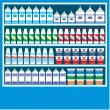 Stock Vector: Supermarket shelves with dairy products