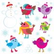 Stock Vector: Set of winter birds and snow man