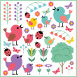Stock Vector: Scrapbook elements with birds and insects