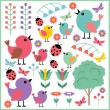 Scrapbook elements with birds and insects - Stock Vector