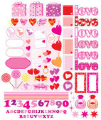 Scrapbook elements with love characters and hearts — Stock Vector