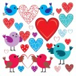 Stock Vector: Set of birdies and hearts