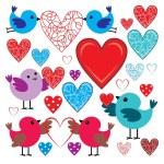 conjunto de pajaritos y corazones — Vector de stock