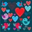 Set of birdies and hearts — Stock vektor