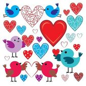 Set of birdies and hearts — Stock Vector