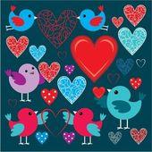 Conjunto de passarinhos e corações — Vetorial Stock