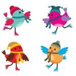 Постер, плакат: Birds on ice skates