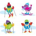 Skiing birds — Stock Vector #18084743