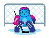 Bird is a hockey goalkeepe — Stock Vector