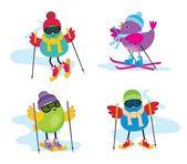 Skiing birds — Stock Vector
