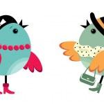 Fashionable birdies — Stock Vector