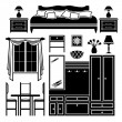 Set of icons of furniture - Stock Vector