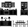Set of icons of kitchen furniture — Image vectorielle