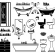 Set of black icons of bathroom - Stock Vector