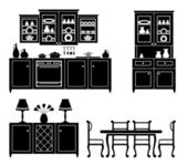 Set of icons of kitchen furniture — Stock Vector