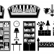 Black icons of furniture — Stock Vector #18998519