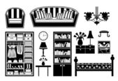 Black icons of furniture — Stock Vector