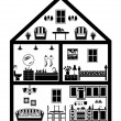Icon of house with planning — Stock Vector
