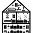 Icon of house with planning — Vector de stock
