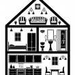 Stock Vector: Icon of house with planning