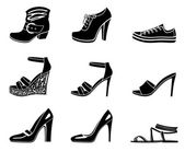 Set of icons of womanish shoe — Stock Vector