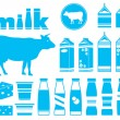 Set icons of milk — Stock Vector