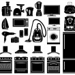 Set of black icons of household appliances — Stock Vector #21227281