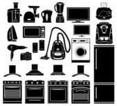 Set of black icons of household appliances — Stock Vector