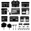 Set of icons of houses and shops — Stock Vector