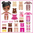 Paper doll with clothes set — Stock Vector #25283631