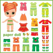 Paper doll with clothes set - Stock Vector