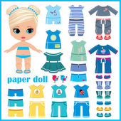 Paper doll with clothes set — Stockvector