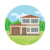 Cottage is in a circle — Stock Vector