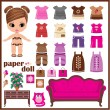 Paper doll with clothes set. vector — Stock Vector