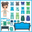 Paper doll with clothes set. — Stock Vector