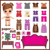 Paper doll with clothes set. vector — Vector de stock