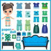 Paper doll with clothes set. — Vector de stock