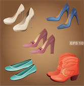 Female shoes set. — Vector de stock