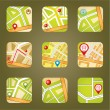 City map with GPS icons — Stok Vektör #28093687