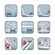 City map with GPS icons — Stok Vektör #28093691