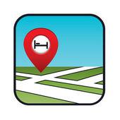 İşaretçi otel simgesiyle sokak haritası. — Stok Vektör