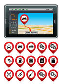 GPS navigator with the pointer autoservice. — Stock vektor