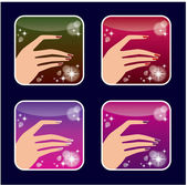 Set of icons of women's manicure. — Stockvector