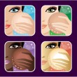 Stock Vector: Set of makeup young European, Asian, Africwomen.