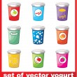 Set Of Yogurt  — Stock Vector