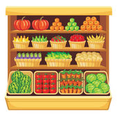 Supermarket. Vegetables and fruits. — Stock Vector